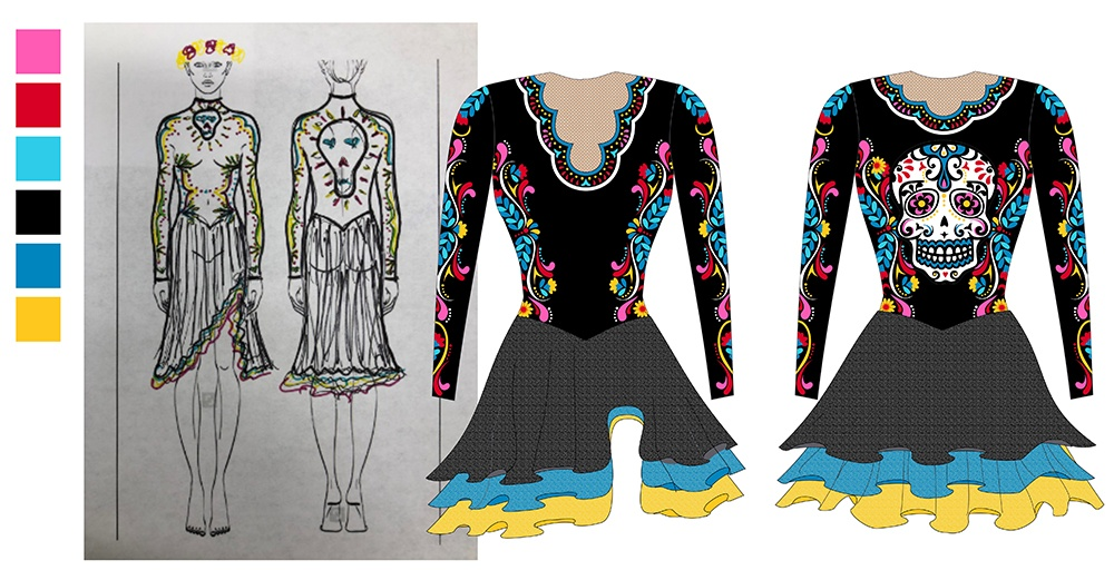 Trine University Synchronized skating - The Line Up Day of the Dead Dress Illustration