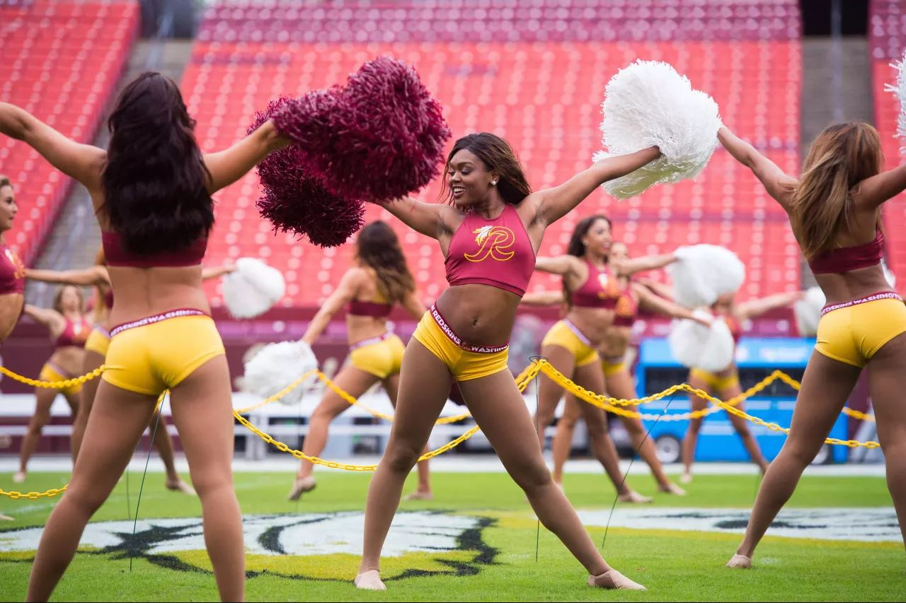 washington redskins cheerleaders practice outfit