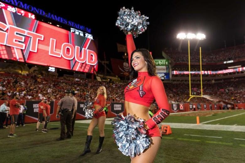 Tampa Bay Buccaneers Cheerleaders color rush uniform