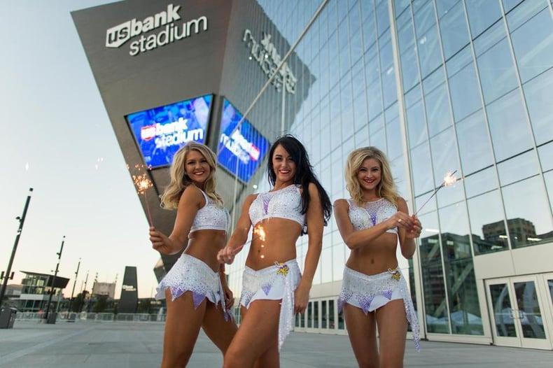 minnesota vikings cheerleaders new uniform new stadium white uniform