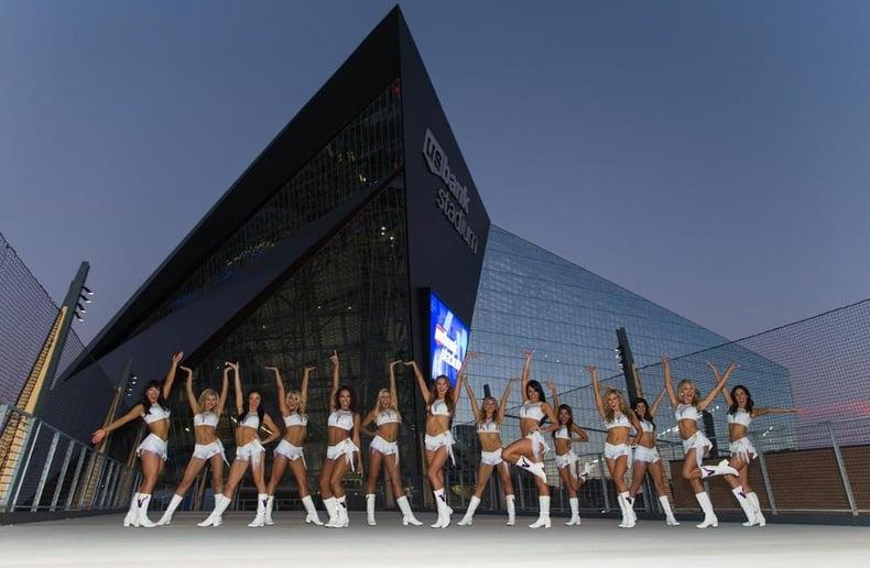 Minnesota Vikings Cheerleaders in front of US Bank Stadium