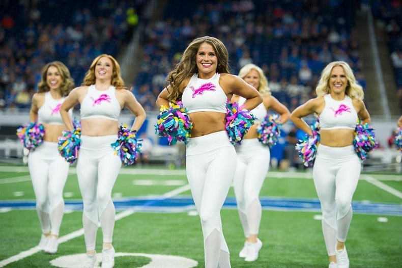 Detroit Lions Cheerleaders Breast Cancer Awareness Uniforms
