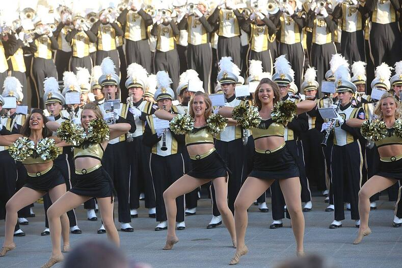 purdue golduster dance team with purdue marching band