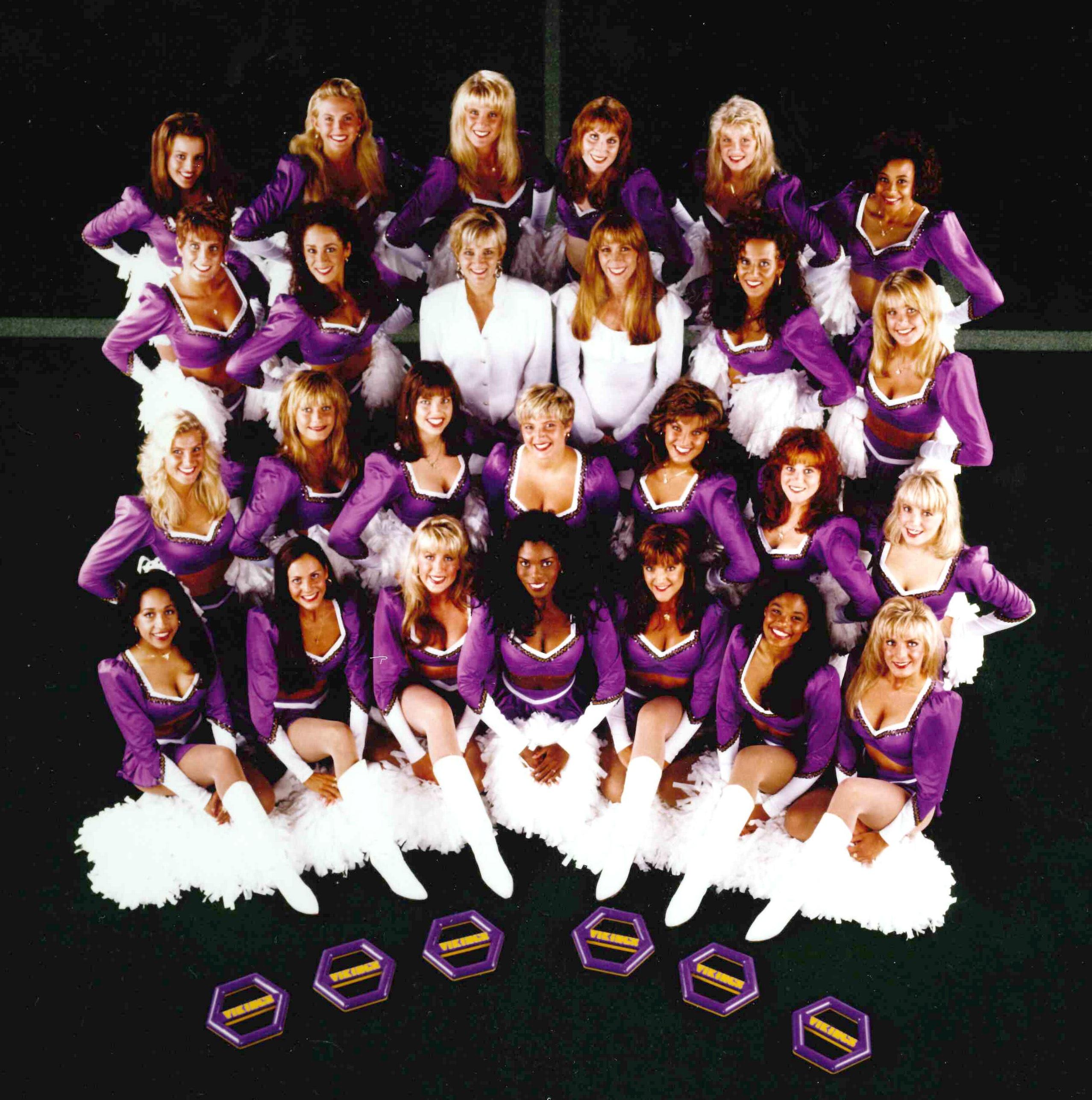 minnesota vikings cheerleaders throwback uniform
