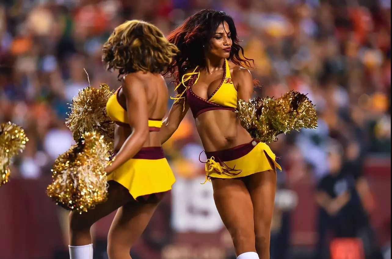 redskins cheerleaders yellow halter top and skirt