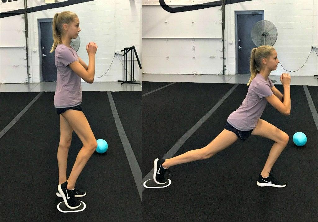 Slide reverse lunge exercise for Dancer hip flexibility